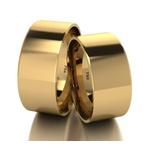 Par De Aliança De Ouro 18k Quadrada Com 8,0mm