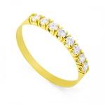 Meia Aliança De Ouro 18k Com 8 Diamantes De 2 Pontos