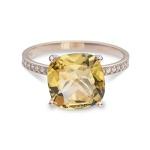 Anel De Ouro 18k Com Citrino e Diamantes