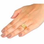 Anel De Ouro 18k Chapa Com Diamante De 1 Ponto
