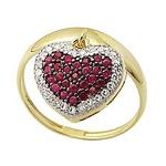 Anel De Ouro 18k Com Coração De Rubis