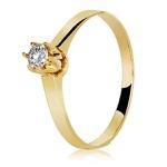 Anel De Ouro 18k Solitário Coroa Com Zircônia
