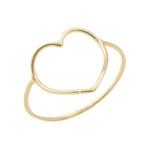 Anel De Ouro 18k Fio Coração