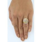 Anel De Ouro 18k Botão Zigzag Tricolor Diamantado