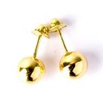 Brinco De Ouro 18k Bolinha De 4mm