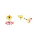 Brinco De Ouro 18k Zircônia Navete Rosa De 5mm