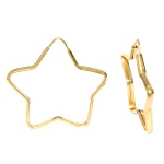 Brinco De Ouro 18k Argola Estrela De 25mm
