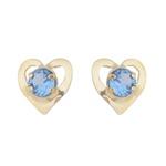 Brinco De Ouro 18k Coração Zircônia Azul