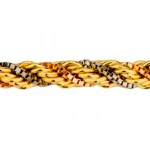Corrente De Ouro 18k Corda Tricolor De 2,3mm Com 40cm