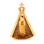 Pingente De Ouro 18k Nossa Senhora Da Aparecida Com Pedras 29mm