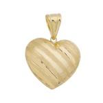 Pingente De Ouro 18k Coração Listrado