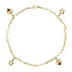 Pulseira De Ouro 18k Corações e Estrelas Com 19cm
