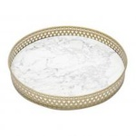 BANDEJA MAD. METALROUND SHAPE MARBLE 26X26X4CM BR/DOUR