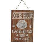 PLACA DECORATIVA COFFEE HOUSE 28X0,5X40CM EM FERRO