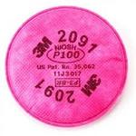 Cartucho Filtro 2091 P3 Contra Poeiras, Névoas, Fumos, Radionuclídeos e particulados altamente tóxicos 3M
