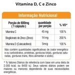 Vitamina D+C+Zinco (Tripla Ação) 60 cápsulas x 600mg