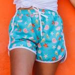 Short Praia Feminino Conchas do Mar Azul