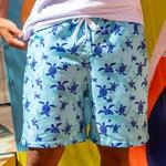 Short Praia Masculino Tartarugas do Mar Azul