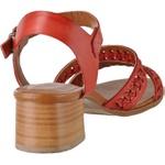 Sandália de Salto Baixo em Couro Vermelho