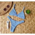 Conjunto Marina Drape Azul Caribe ( Calcinha Dupla Face )