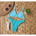 Conjunto Marina Xadrez Verde Agua ( Calcinha Dupla Face )