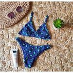 Conjunto Marina Oncinha Azul Canelado ( Calcinha Dupla Face )