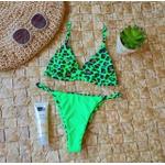 Conjunto Marina Oncinha Verde ( Calcinha Dupla Face )