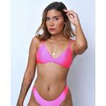 Conjunto Marina Rosa Neon Canelado ( Calcinha Dupla Face )