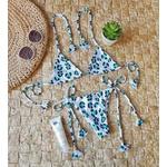 Conjunto Lacinho Oncinha Branco/Azul Canelado