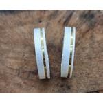 Aliança Prata Fosca com Filete Folheado a Ouro 4mm (par)