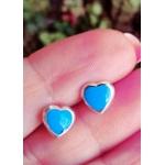 Brinco Prata Coração com Resina Azul Turquesa