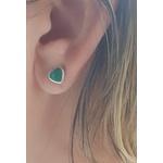 Brinco Prata Coração com Resina Verde Mesclado