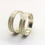 Aliança Prata Diamantada Com Friso 5mm