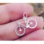 Pingente de prata bicicleta com corrente veneziana 40cm