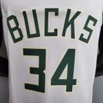 Regata Nba Milwaukee Bucks Cream City Silk (jogador) Giannis Antetokounmpo 34