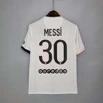 Camisa Paris Saint-Germain branca Messi nº 30 torcedor 21/22