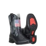 Bota texana Infantil Cano Camuflado Cor Preto Bandeira USA