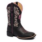 bota texana franca boots feminina bico quadrado - FLORAL PRETA fb2268