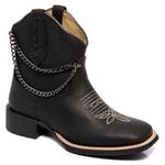 bota texana franca boots feminina bico quadrado bordada com corrente fb2274