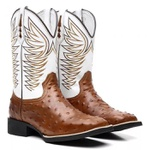 bota texana bico quadrado replica avestruz bordada