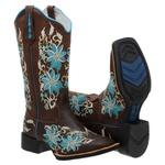 bota texana bico quadrado FLOral azul