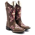 bota texana bico quadrado cruz