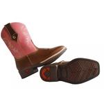 bota texana infantil bordada em couro rosa