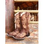 Bota Texana hopper feminina Franca Boots bordada bege