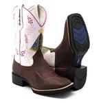 Bota Texana Franca Boots em couro bico quadrado nossa senhora
