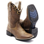 BOTA TEXANA BICO QUADRADO ANIMAL PRINT