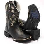 Bota Texana Franca Boots bico quadrado bordado preta