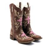 bota texana bico quadrado cruz-rosa