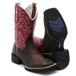 Bota texana feminina Franca Boots bico quadrado Rosa