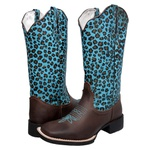 Bota Texana Animal Print Onça AZUL